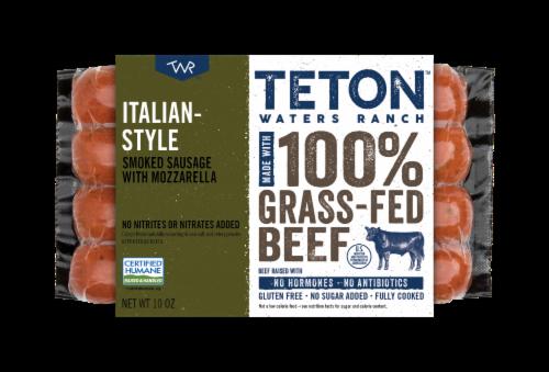 Teton Waters Ranch Grass-Fed Italian Style Oregano & Mozzarella Mild Smoked Sausage Perspective: front