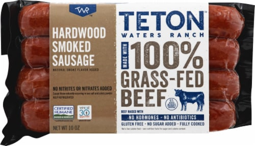 Teton Waters Ranch Hardwood Smoked Beef Sausage Perspective: front
