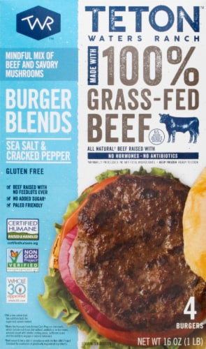 Teton Waters Ranch Sea Salt and Cracked Pepper Beef Burger Blends Perspective: front