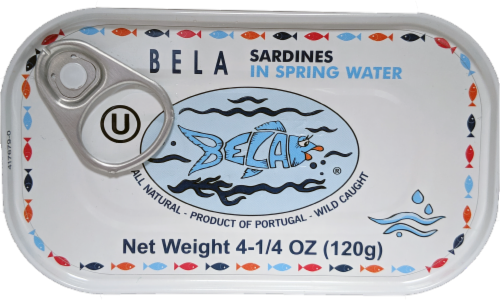 Bela Sardines in Spring Water Perspective: front