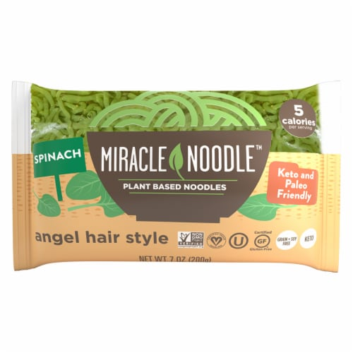 Miracle Noodle Spinach Angel Hair Style Plant Based Noodles Perspective: front