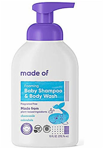 MADE OF  Organic Foaming Baby Shampoo & Body Wash  Fragrance Free Perspective: front