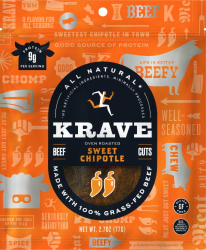 Krave Gourmet Beef Cuts Sweet Chipotle Jerky Perspective: front