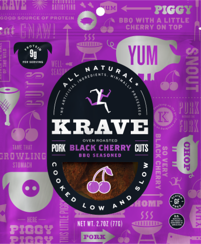 Krave Black Cherry BBQ Seasoned Pork Cuts Jerky Perspective: front
