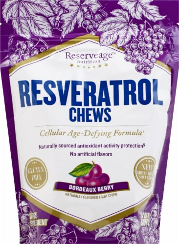 Reserveage Nutrition Bordeaux Berry Resveratrol Chews 30 Count Perspective: front