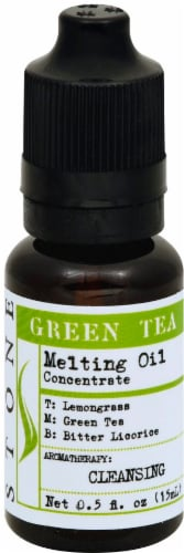 Stone Green Tea Candle Melting Oil Perspective: front