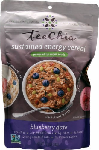 TeeChia  Sustained Energy Cereal   Blueberry Date Perspective: front
