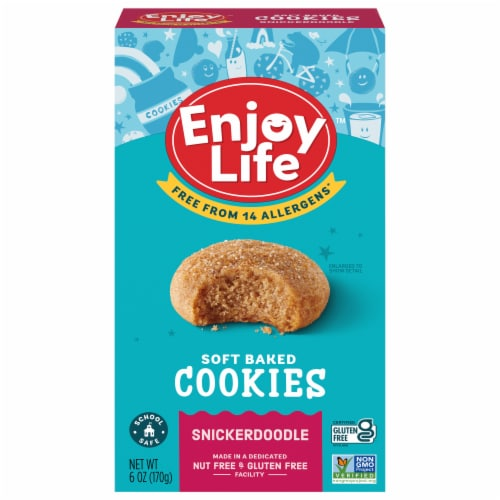 Enjoy Life Gluten-Free Soft Baked Snickerdoodle Cookies Perspective: front