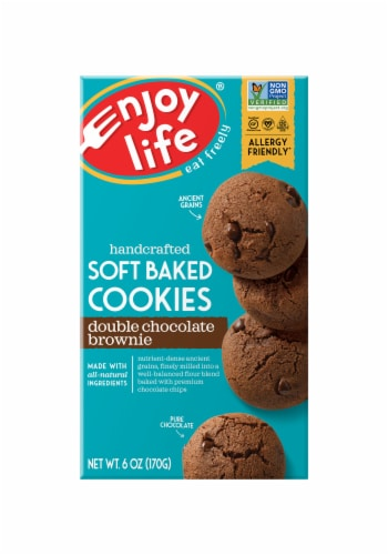 Enjoy Life Gluten-Free Double Chocolate Brownie Soft Baked Cookies Perspective: front