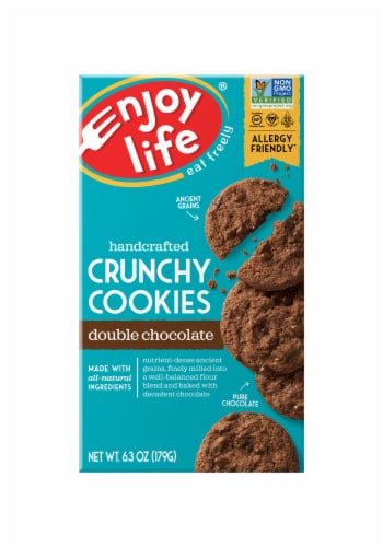 Enjoy Life Gluten-Free Handcrafted Double Chocolate Crunchy Cookies Perspective: front