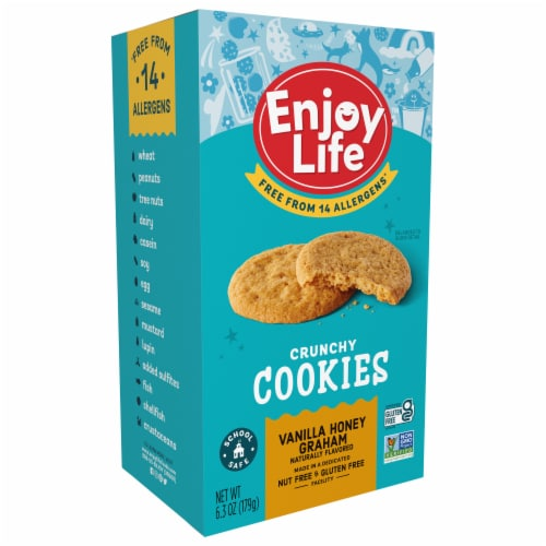 Enjoy Life Crunchy Vanilla Honey Graham Cookies Perspective: front