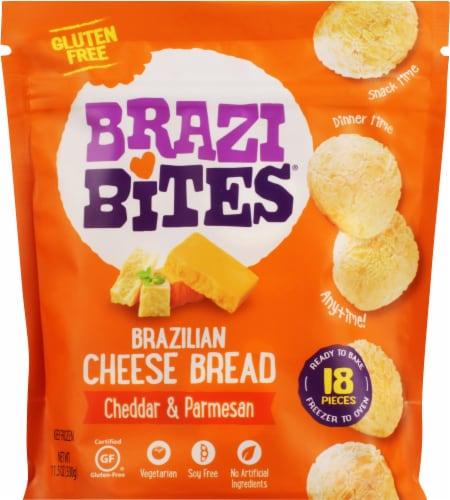 Brazi Bites Cheddar & Parmesan Brazilian Cheese Bread Perspective: front