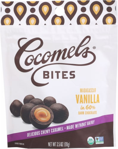Cocomels Vanilla Chocolate Covered Coconut Milk Caramel Bites Perspective: front