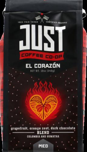 Just Coffee Co-op El Corazon Grapefruit Orange Zest Dark Chocolate Medium Blend Perspective: front