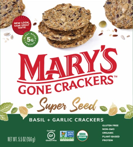 Mary's Gone Super Seed Basil & Garlic Crackers Perspective: front