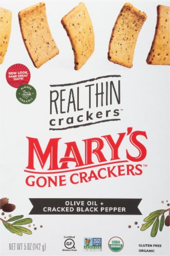 Mary's Gone Crackers Olive Oil + Cracked Black Pepper Real Thin Crackers Perspective: front