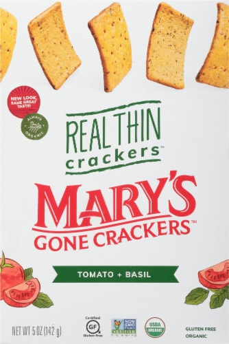Mary's Gone Crackers Tomato + Basil Real Thin Crackers Perspective: front