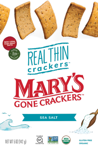Mary's Gone Crackers Organic & Gluten Free Sea Salt Real Thin Crackers Perspective: front