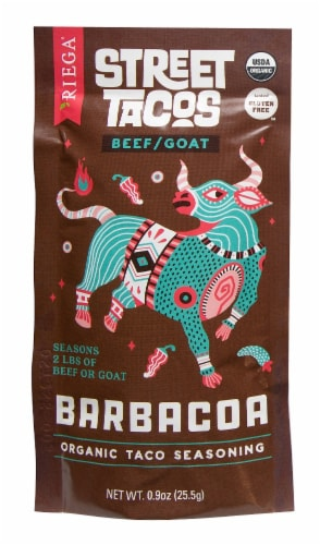 Riega Foods Organic Street Tacos Barbacoa Taco Seasoning Perspective: front