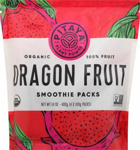 PitayaPlus Organic Dragon Fruit Smoothie Packs 4 Count Perspective: front