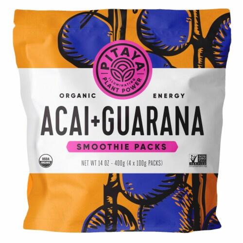 PitayaPlus Organic Acai + Guarana Smoothie Packs Perspective: front