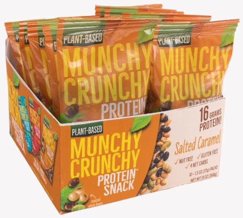 Salted Caramel 10-Packet Munchy Crunchy Protein Snack Perspective: front