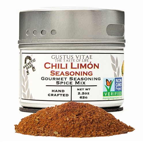 Gustus Vitae  Gourmet Seasoning Spice Mix in Magnetic Tin   Chili Limon Perspective: front