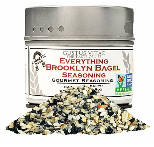 Gustus Vitae  Gourmet Seasoning In Magnetic Tin   Everything Brooklyn Bagel Perspective: front
