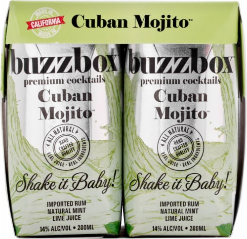 buzzboz Premium Cocktails Cuban Mojito Cocktail Perspective: front