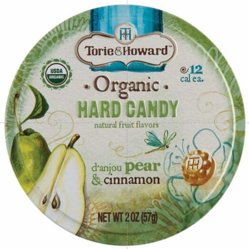 Torie & Howard Organic D'anjou Pear & Cinnamon Hard Candy Perspective: front