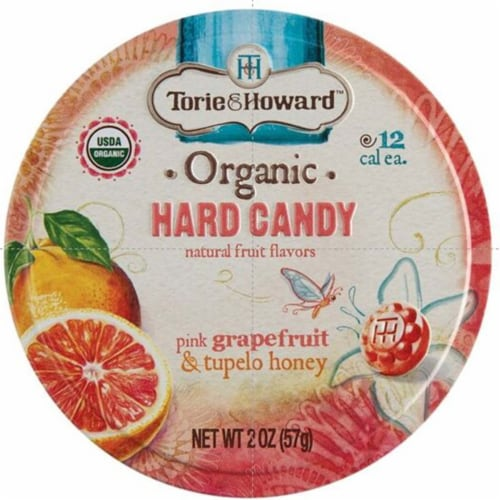 Torie & Howard Organic Pink Grapefruit & Tupelo Honey Hard Candy Perspective: front