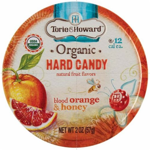 Torie & Howard Organic Blood Orange & Honey Hard Candy Perspective: front