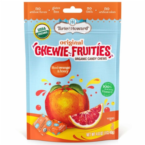 Torie & Howard Chewie Fruities Organic Blood Orange & Honey Candy Chews Perspective: front