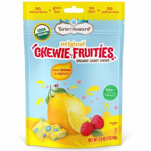 Torie & Howard Chewie Fruities Organic Meyer Lemon & Raspberry Candy Chews Perspective: front