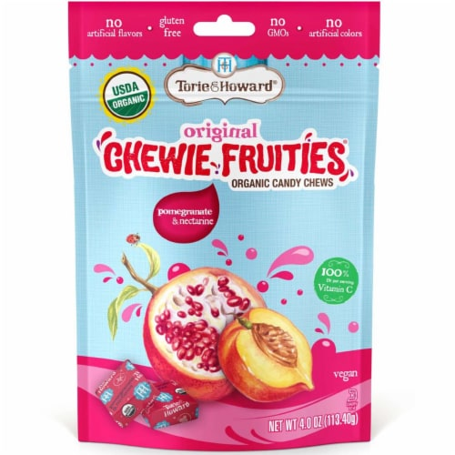Torie & Howard Chewie Fruities Organic Pomegranate & Nectarine Candy Chews Perspective: front