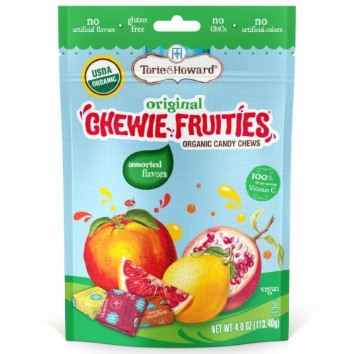 Torie & Howard Chewie Fruities Organic Assorted Flavors Candy Chews Perspective: front