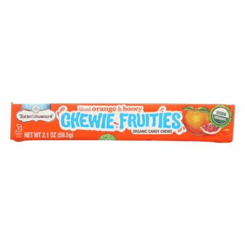 Torie and Howard-Chewy Fruities Organic Candy Chews-Blood Orange and Honey-Case of 18-2.1oz Perspective: front
