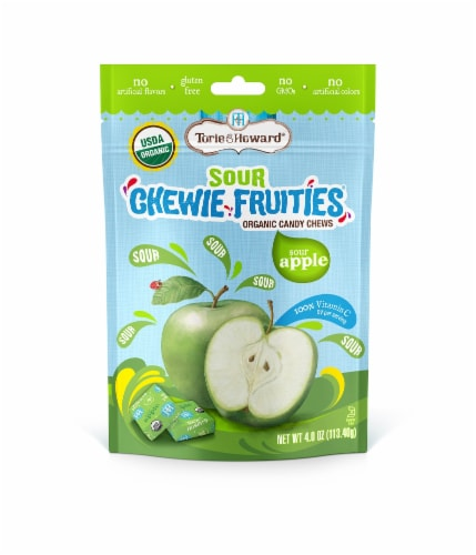 Torie & Howard Chewie Fruities Organic Sour Apple Candy Chews Perspective: front