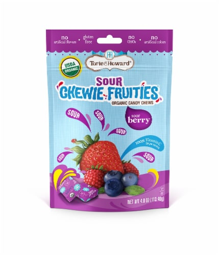 Torie & Howard Chewie Fruities Organic Sour Berry Candy Chews Perspective: front