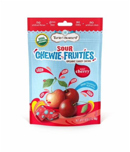Torie & Howard Chewie Fruities Organic Sour Cherry Candy Chews Perspective: front