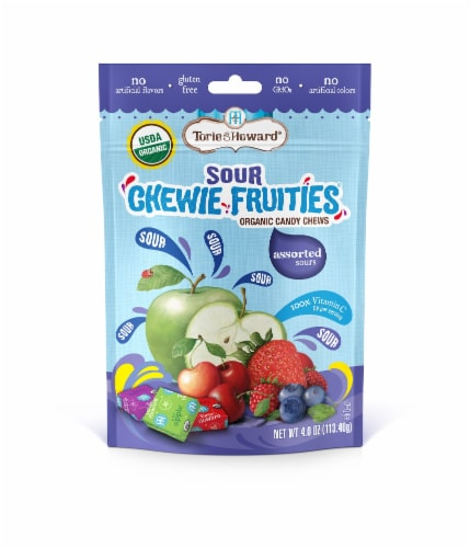 Torie & Howard Chewie Fruities Organic Assorted Sours Candy Chews Perspective: front