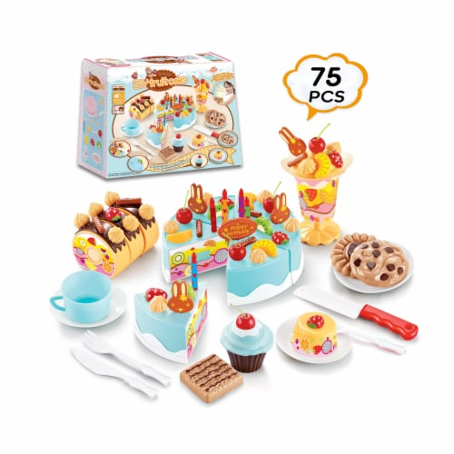 Birthday Cake Play Food Set Light Blue 75 Pieces Plastic Kitchen Cutting Toy Pretend Play Perspective: front