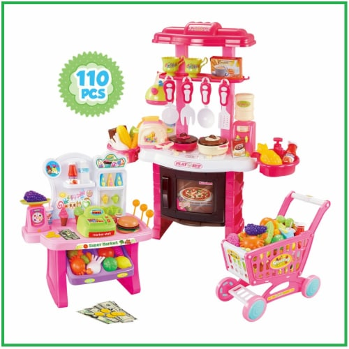 Mundo Toys 110 Piece Kitchen Set For Kids with Mini Supermarket For Girls Perspective: front