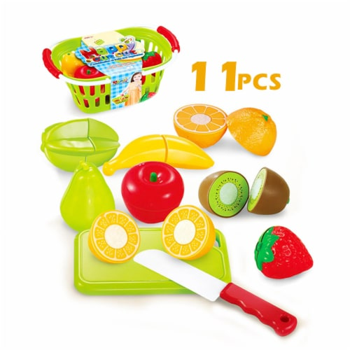 Play Food Set 11 pcs Plastic Cutting Fruits Vegetables w/basket Perspective: front