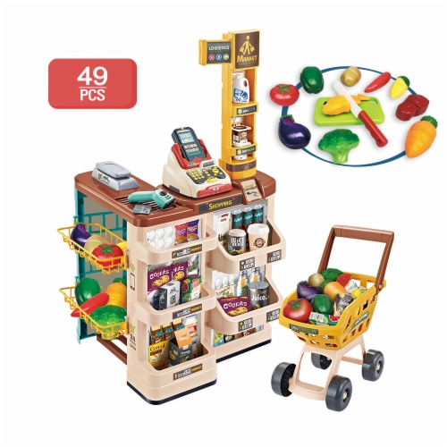 Supermarket Play Set 49 PCS w/Shopping Cart, Cash Register, Scanner, Balance, cut fruits Perspective: front
