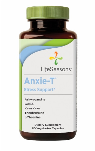 Life Seasons Anxie-T Stress Support Dietary Supplement Vegetarian Capsules Perspective: front