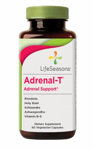 Life Seasons Adrenal-T Adrenal Support Dietary Supplement Vegetarian Capsules Perspective: front
