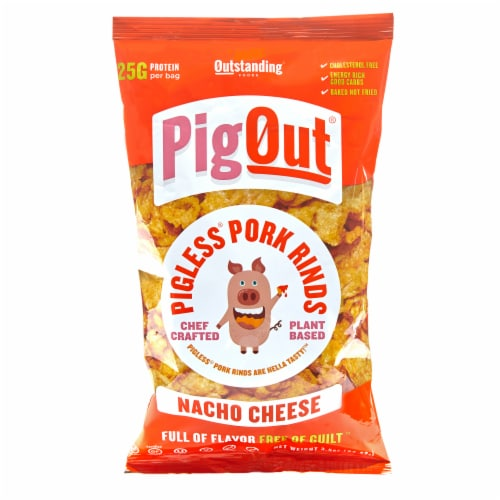 PigOut Nacho Cheese Pigless Pork Rinds Perspective: front