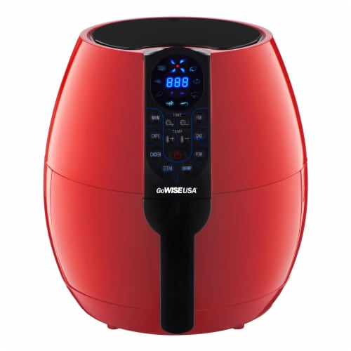 GoWISE USA 3.7-Quart Programmable Air Fryer, Chili Red Perspective: front
