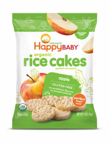 Happy Baby Organic Apple Rice Cakes Baby Snack Perspective: front